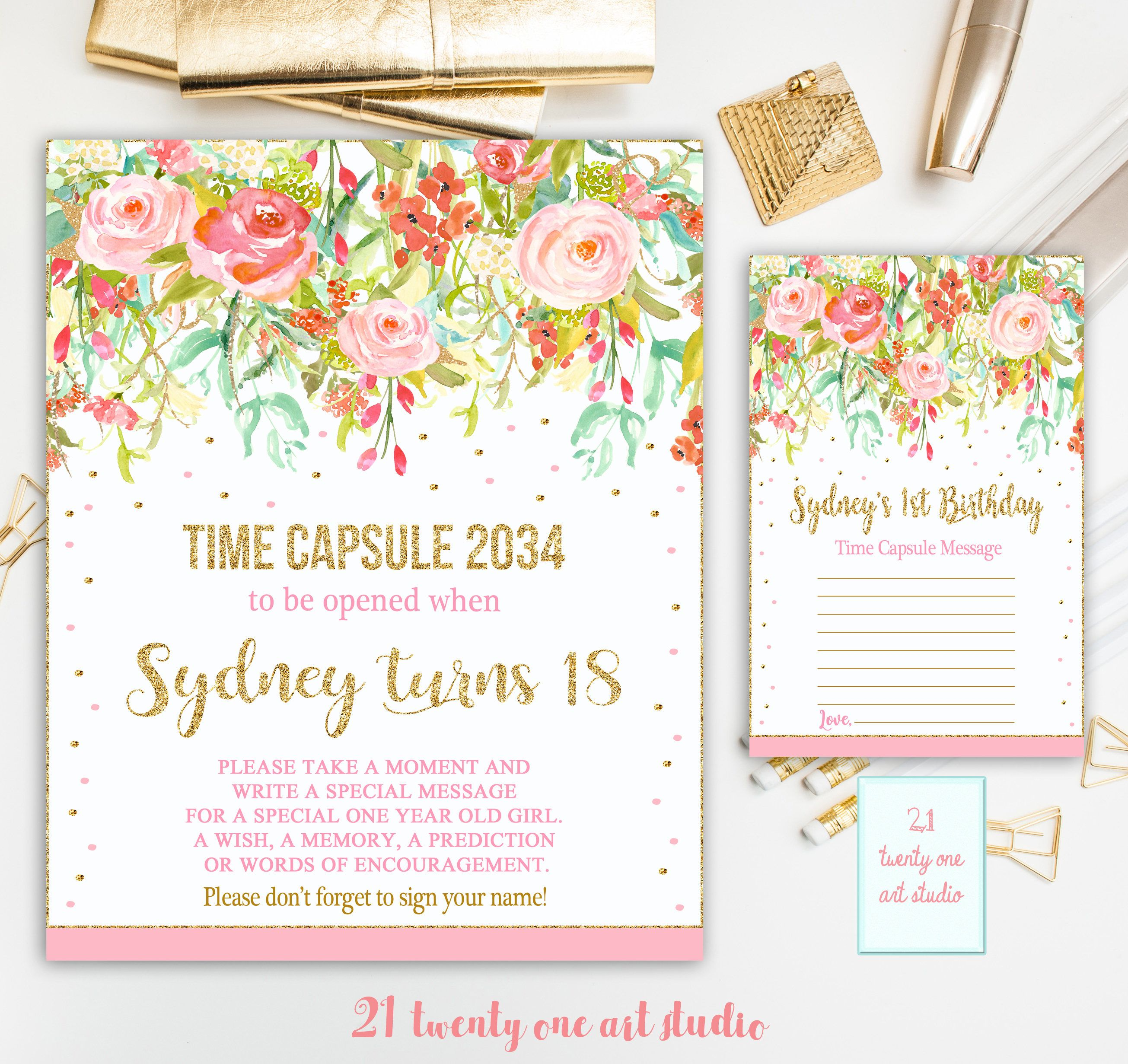 Floral Time Capsule Sign, First Birthday Time Capsule, Pink and Gold ...