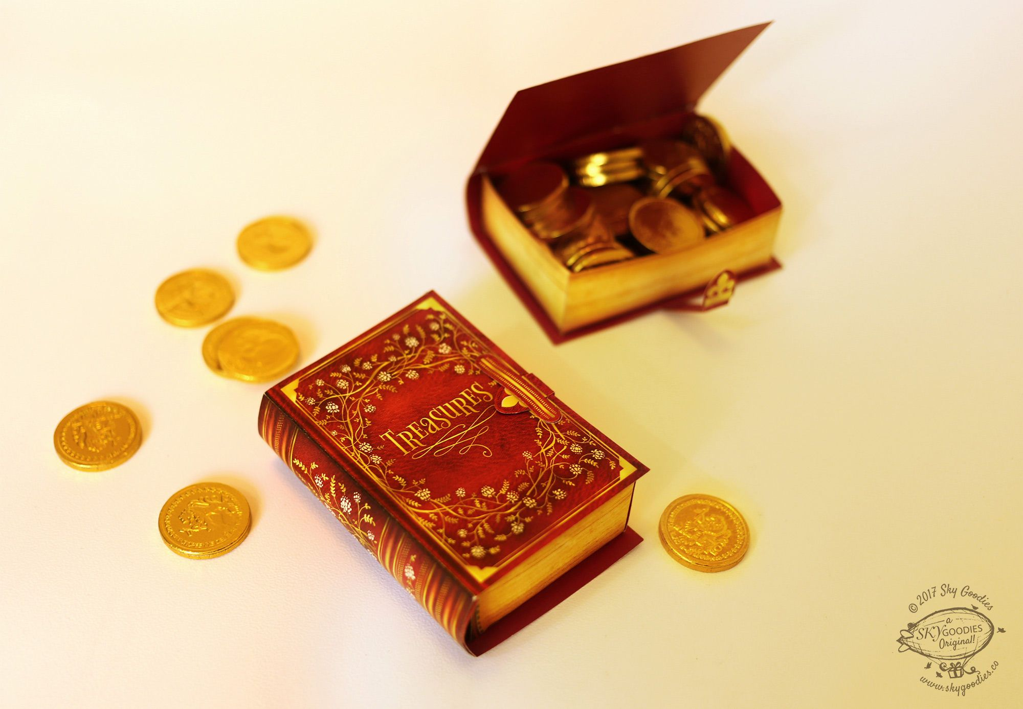 goody boxes disguised as old world books in a size so adorable