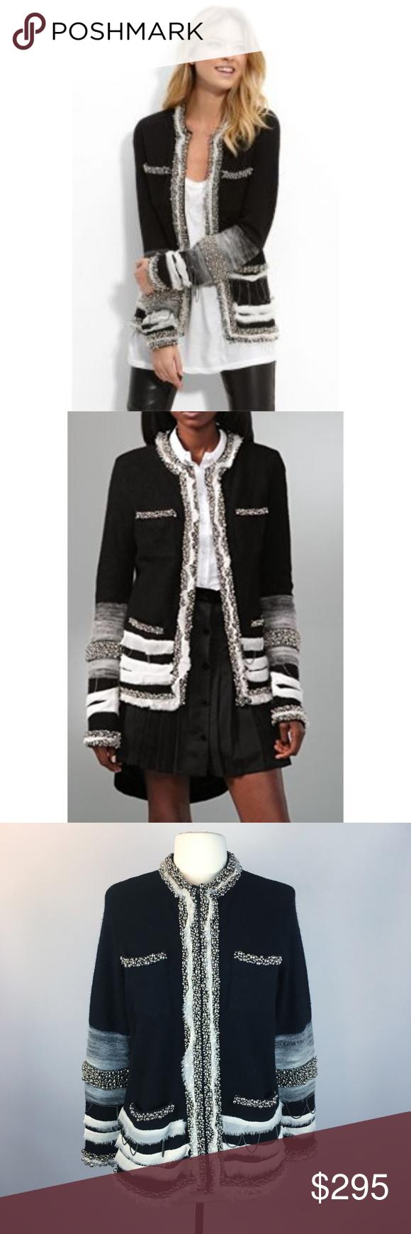 Dvf Rare Lexi Jacket Wool Silk Beads Black M Diane Von Furstenberg Lexi Wool Jacket With Needle Felting Chain And Beadwo Clothes Design Fashion Fashion Design [ 1740 x 580 Pixel ]
