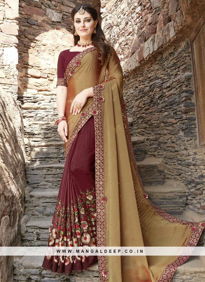 a59eb4470a Online shopping for latest collection of designer sarees. Shop this fancy  fabric embroidered and patch border work half n half saree for bridal and  wedding.