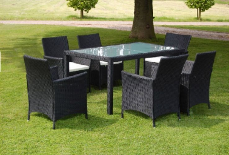 Black Poly Rattan Garden Furniture Set 6 Chairs 1 Table   Enjoy this Cheap Novelty. Visit LUXURY HOME BRANDS and get this offer Now!