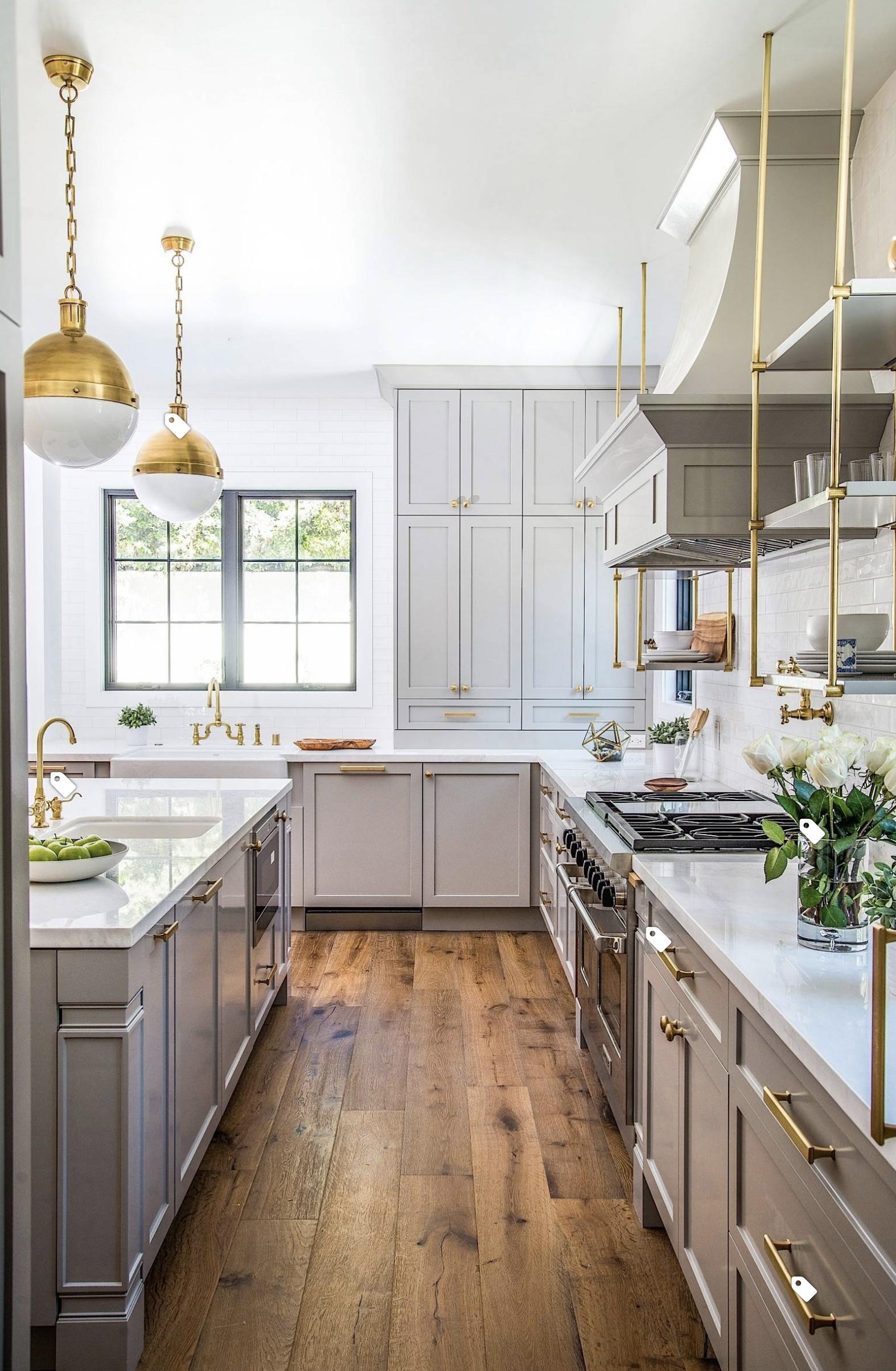 Grey and brushed gold hardware Kitchen decor