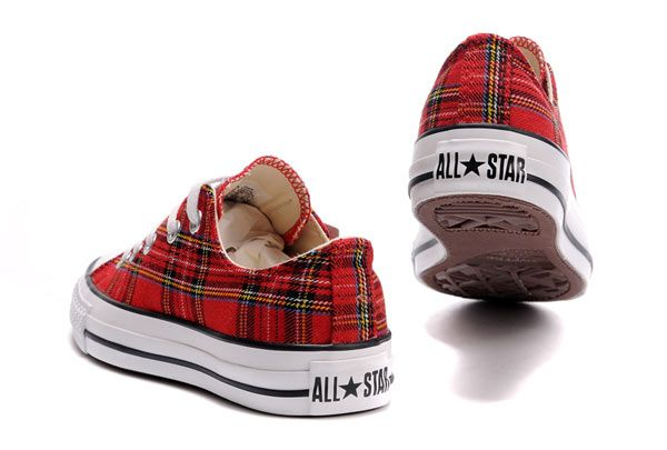 Red Plaid Converse All Star Scotland Low Tops Canvas Shoes