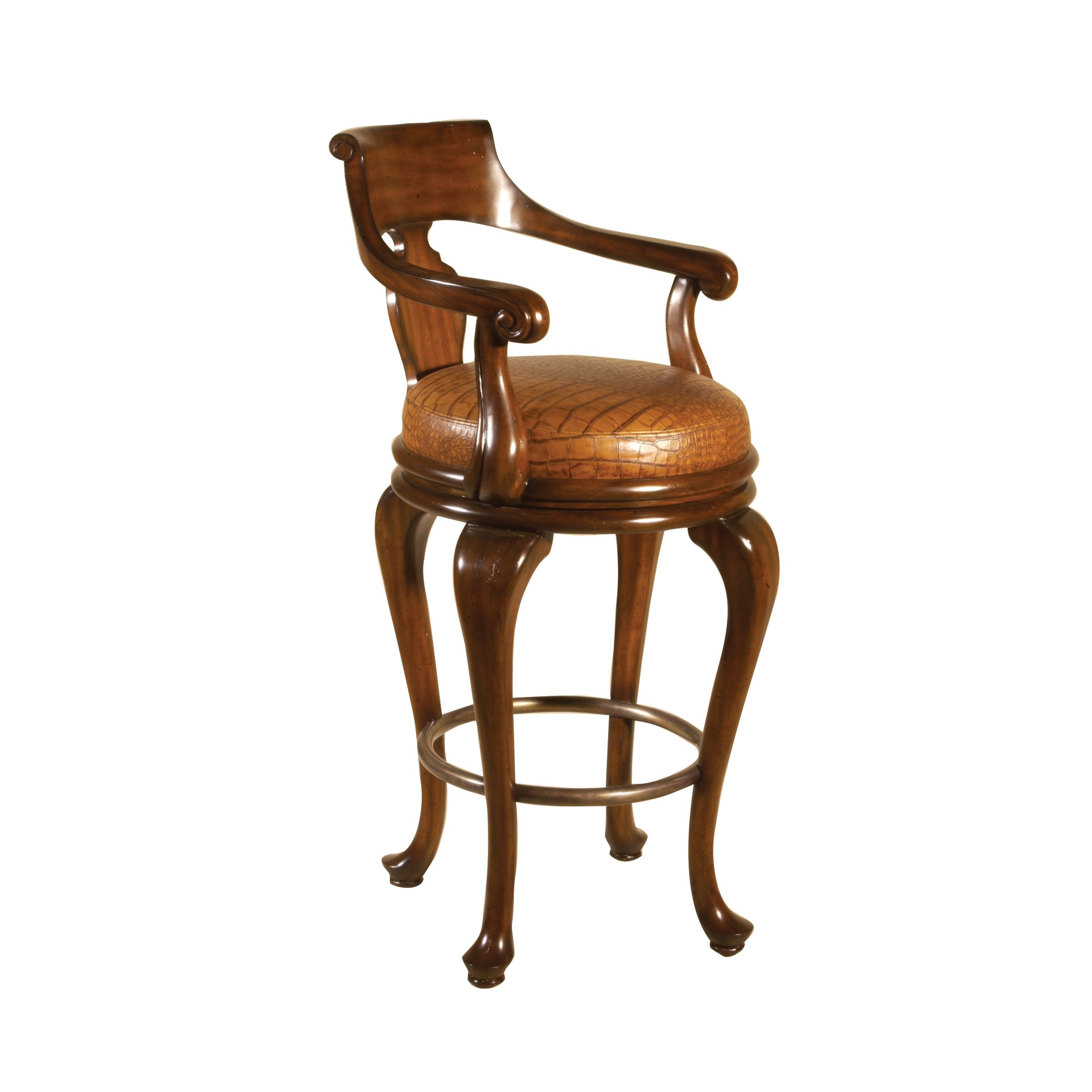 Maitland Smith Aged Regency Mahogany Finished Swivel Barstool Uganda Crocodile Embossed Leather Bar Stools Dining Chair Upholstery How To Antique Wood