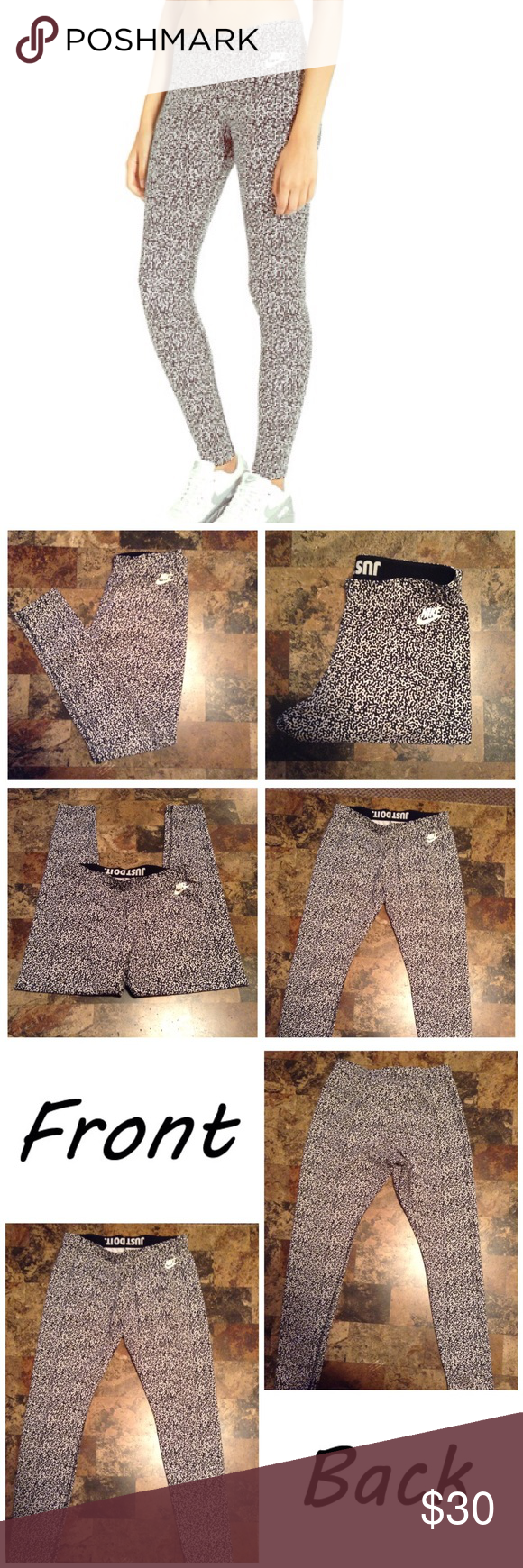 "Nike Printed Leggings First pic of model wearing this style of Leggings.  Last 3 pics are of actual item/color. Size Large. Color is black/white. Stretches. Leg Opening ""4.5. Laying flat ""14. Length ""36. Inseam ""27. Nike Pants Leggings"
