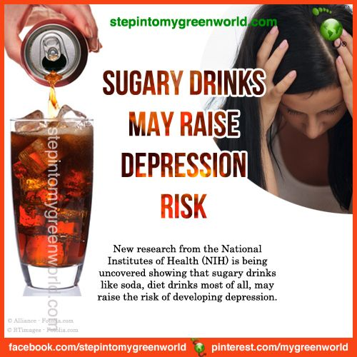 ☛ Do YOU know that sugary drinks may raise depression risk?  FOR ALL THE INFORMATION:  http://www.stepintomygreenworld.com/greenliving/greenfoods/sugary-drinks-may-raise-depression-risk/  ✒ Share | Like | Re-pin | Comment