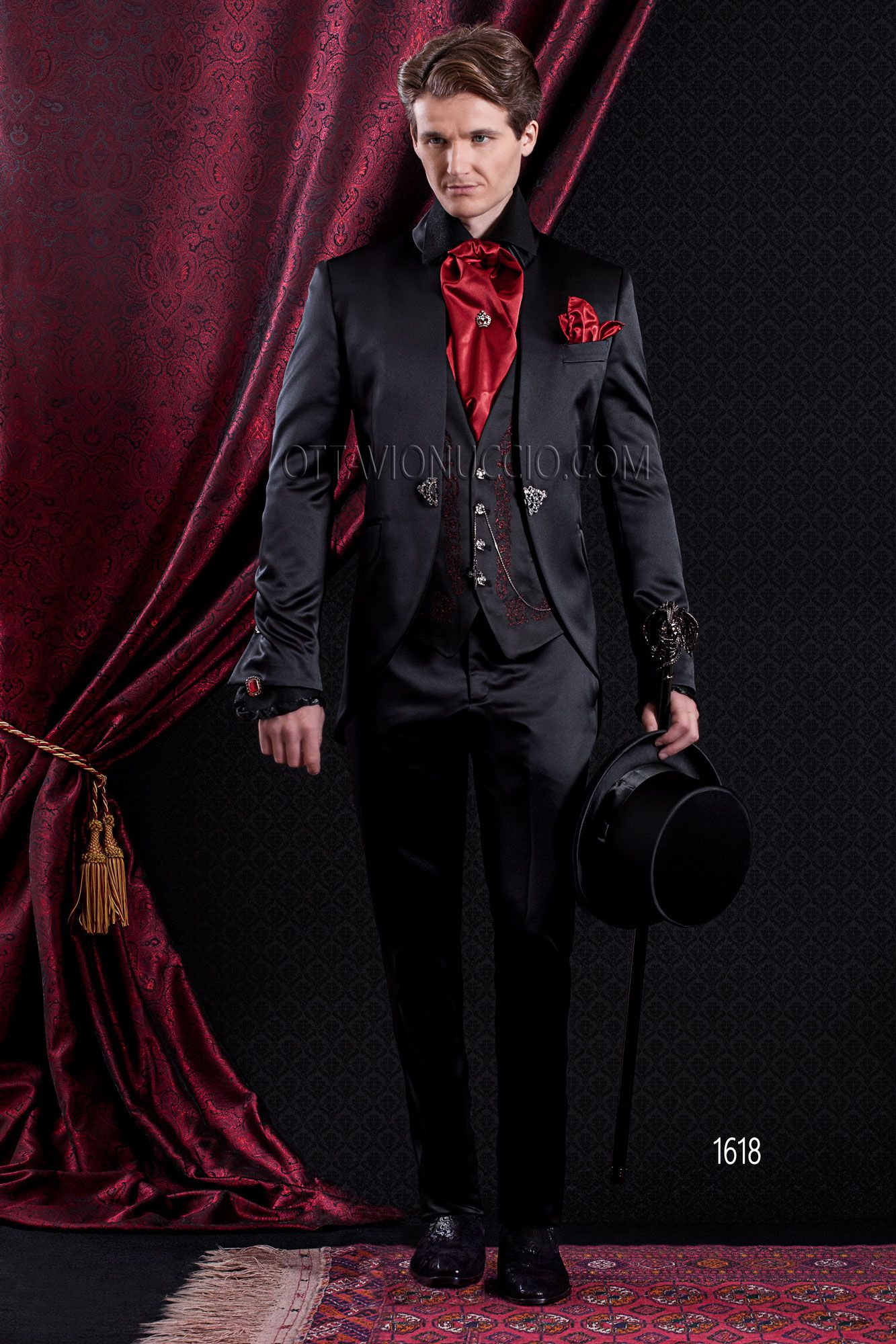 Black #satin #Gothic #baroque #wedding #suit for #groom with #red ...