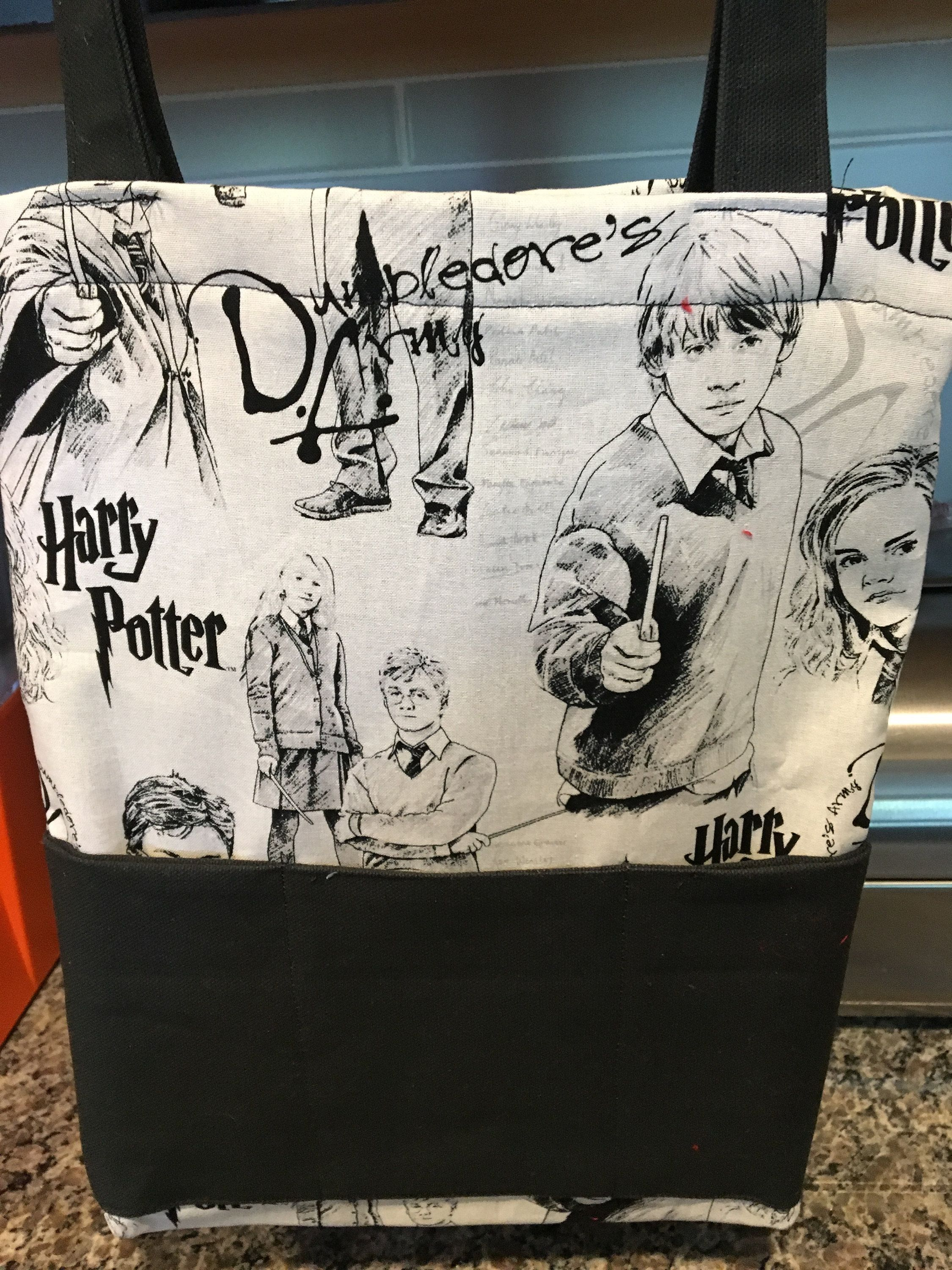 Book Bag With Harry Potter Fabric Handmade Book Tote