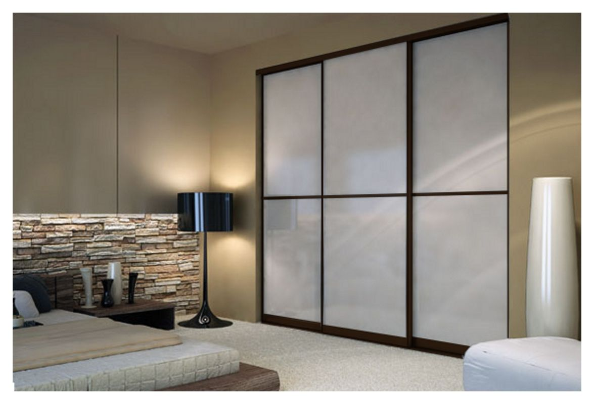 3 panel mirror sliding closet doors - Wenge Sliding Closet Doors With White Lami Glass Toronto Space Solutions