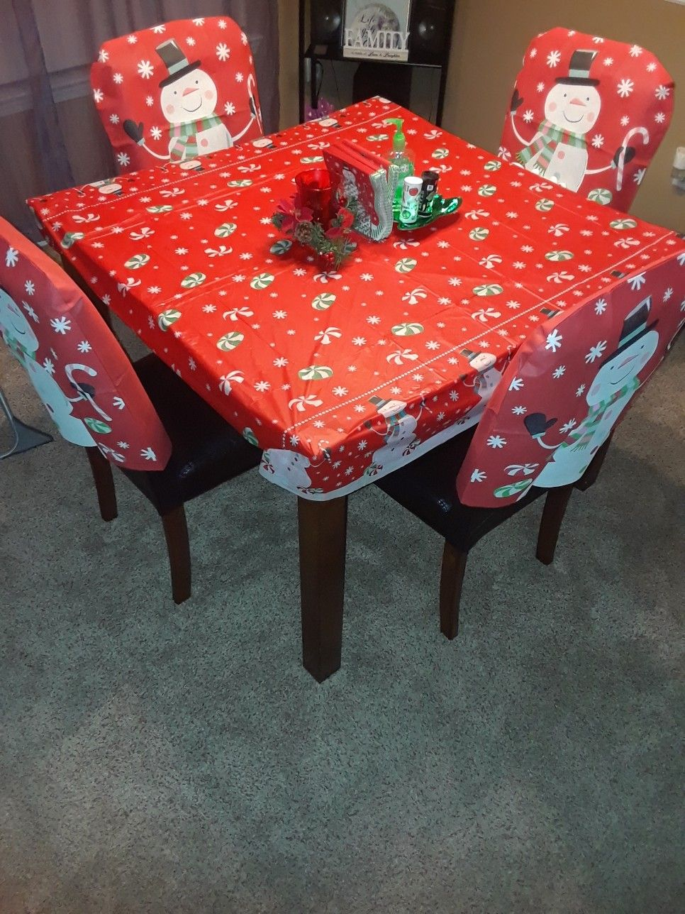 Dollar Tree Snowman Tablecloth and Chair Covers (With