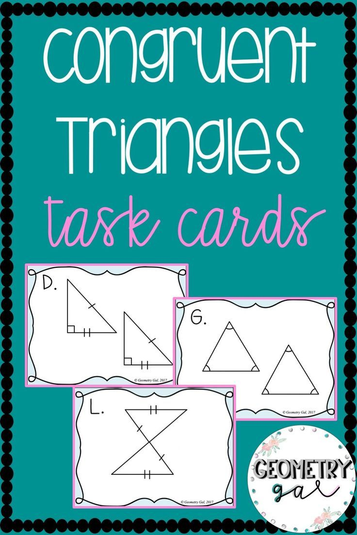 Congruent Triangles Task Cards High School Geometry