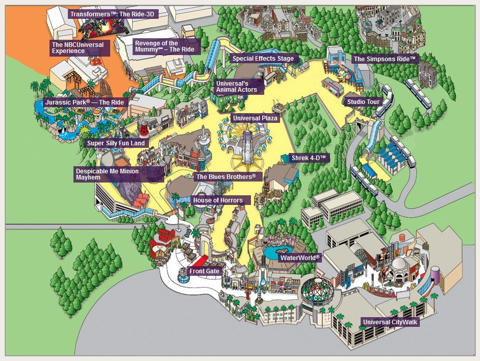 Universal Studios Hollywood 2015 Map Los Angeles California Eua