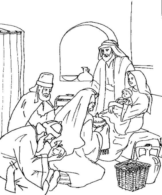 Wise Men Worship Jesus Matthew 2 11 Coloring Page Sunday