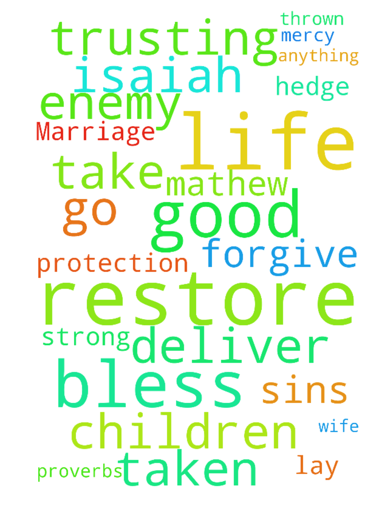 Restore Our Marriage Lord -   Thank you Jesus for life through the good and the bad. Lord I lay my life, my wife and our children at your thrown of mercy. Pick us up and be strong in us to go and do of your good pleasure. Cover us with your hedge of protection and restore us unto you. Forgive us our sins, deliver us, bless us and keep us. Restore unto us anything the enemy has taken. Bless us to take no thought for our life trusting only in you. Isaiah 55:7, Mathew 6:25 and Proverbs 3:7…