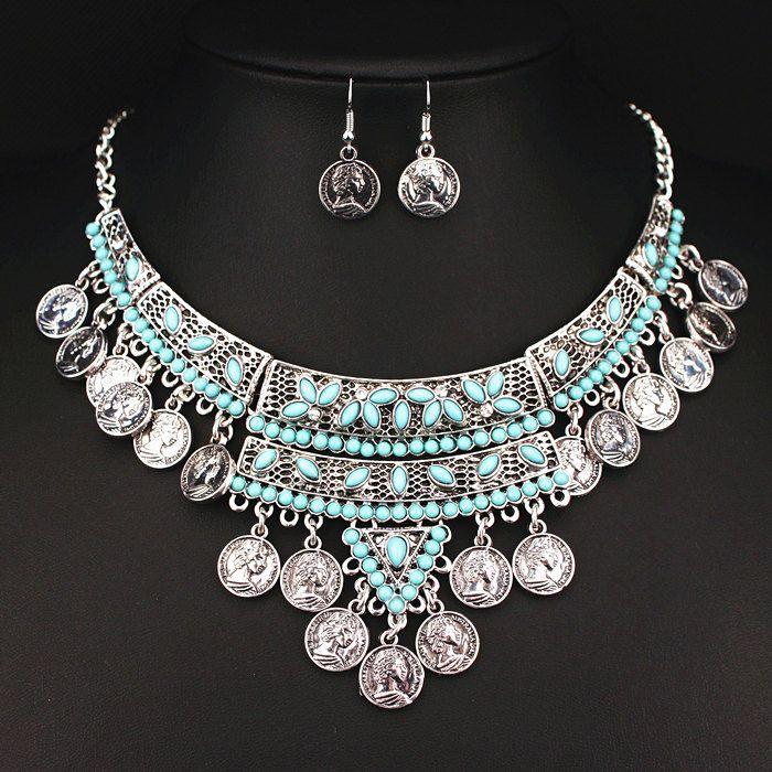 2016 Bohemio Gitano de Boho Joyería Collar Vintage Antique Silver Coin Borlas Collares y Colgantes para Las Mujeres X1622