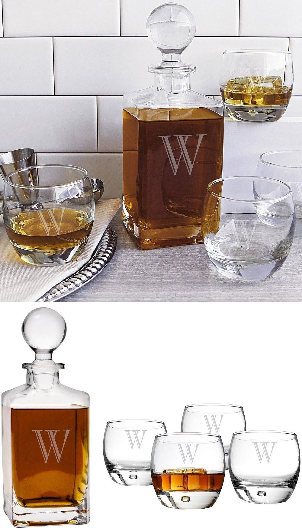 5 Pc. Personalized Whiskey Decanter & Glasses Set | Awesome Gift ...