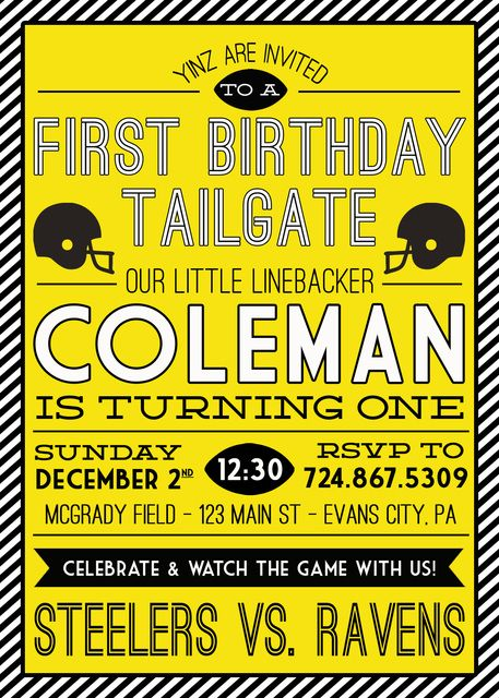 Steelers Football Pittsburgh Birthday Party Ideas Photo 2 Of 36 Football First Birthday Boys First Birthday Party Ideas Football Birthday Party