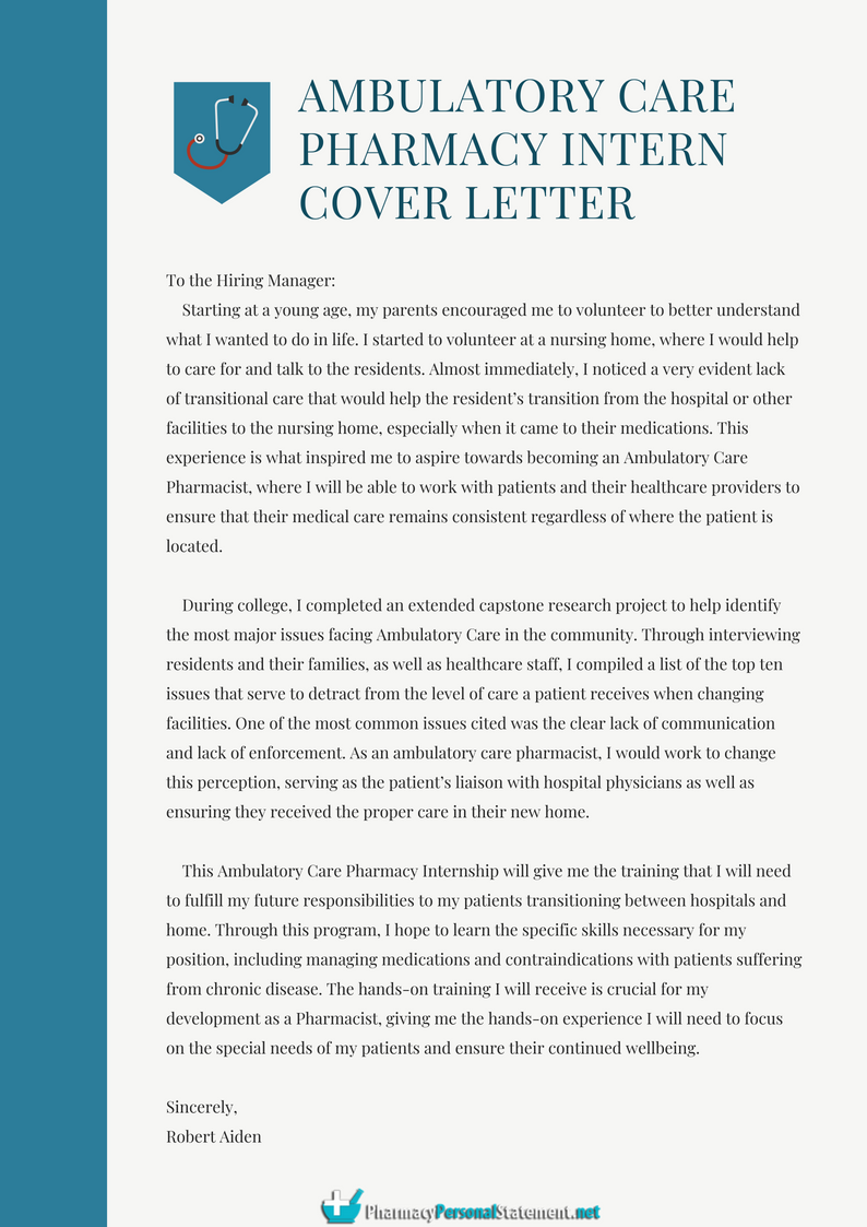 What Is Ambulatory Care Pharmacy Intern Cover Letter Pharmacypersonalstatement