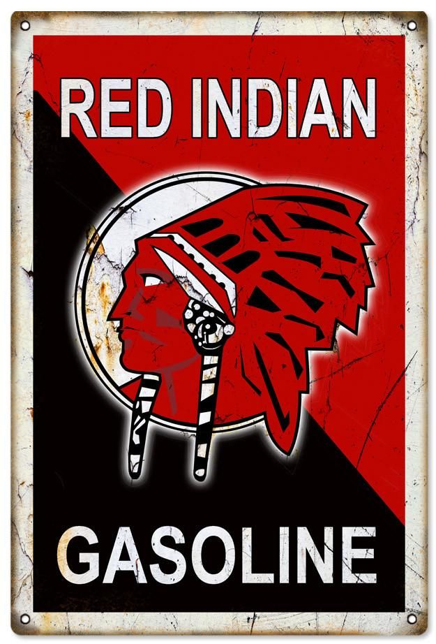 Distressed Reproduction Indian Gasoline Motor Oil Metal Sign 12