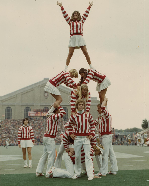 University Of Wisconsin Cheerleaders At Camp Randall Stadium Madison Circa 1960 1969 Source Uw Madison Ar Wisconsin Football Cheerleading Pyramids Madison