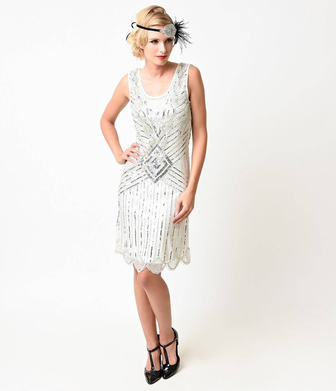 1920s white silver sequin beaded athena gatsby flapper