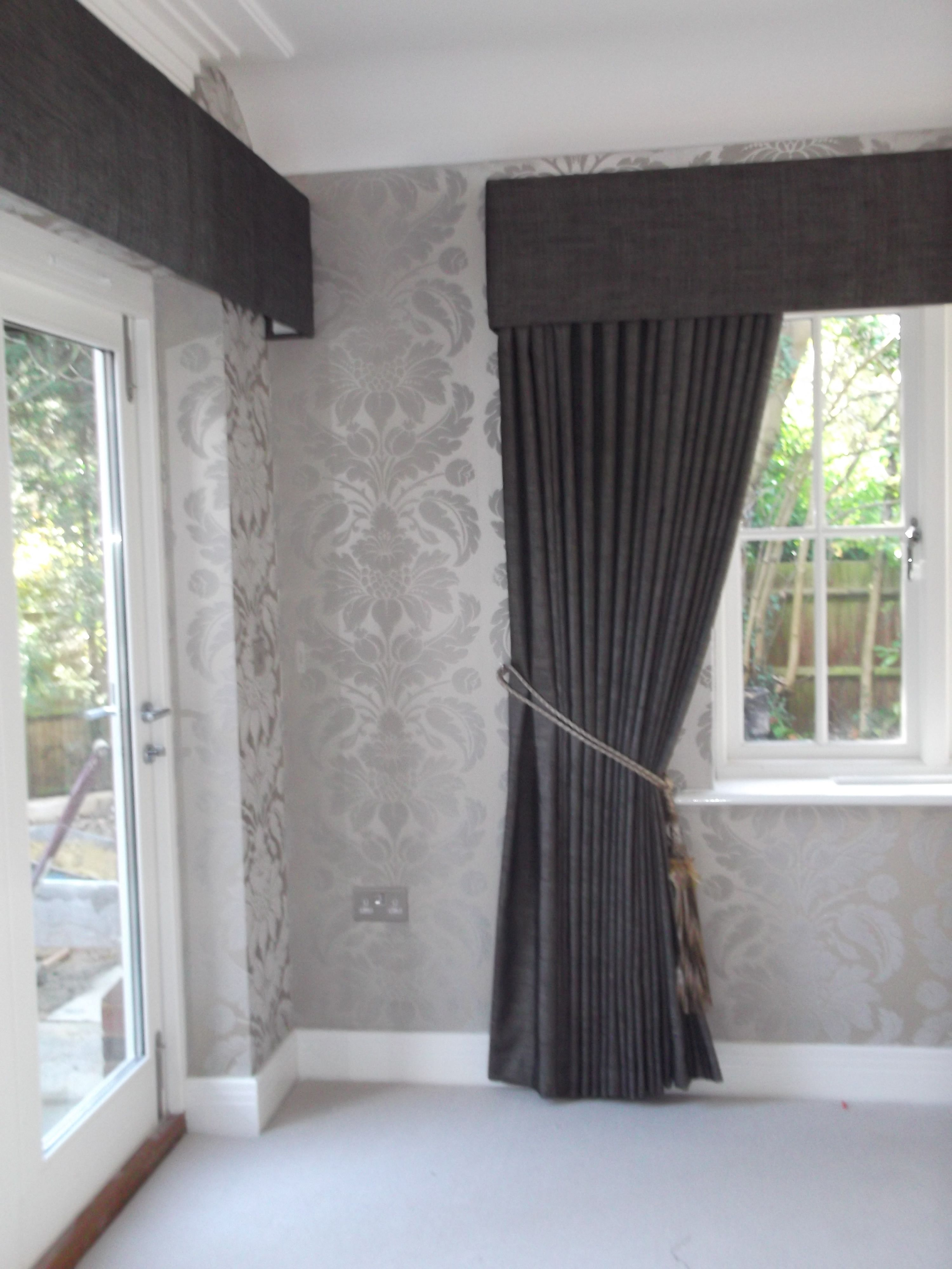 Light grey window curtains - Full Length Curtains With Pelmet Should Resolve Light Leak Top Of Blinds