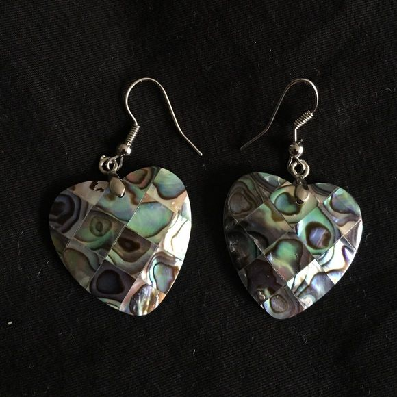 Mother Of Pearl Heart Shaped Earrings These Have Never Been Worn And Are In Great