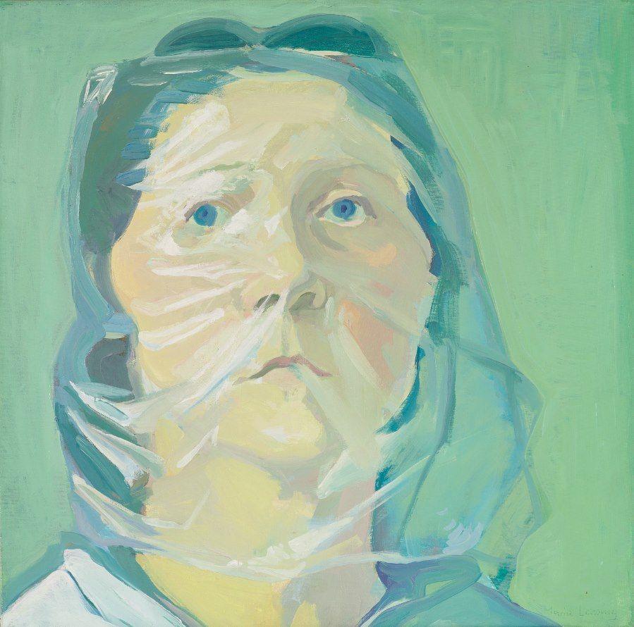 Maria Lassnig // Selbstporträt unter Plastik // 1972