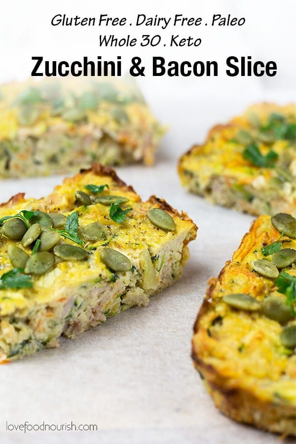 This zucchini and bacon slice makes an easy low carb snack breakfast lunch or light dinner Gluten free dairy free Keto Paleo and Whole30 friendly this zucchini slice is a...
