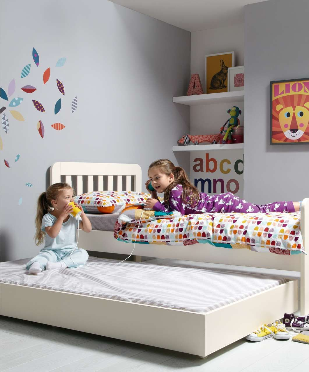 Bay Single Bed With Sleepover Trundle Including 2 Mattresses  Toddler Beds  & Kids Beds