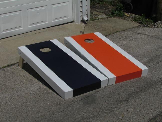 corn hole board designs ideas how to build a cornhole set simple bears themed - Cornhole Design Ideas