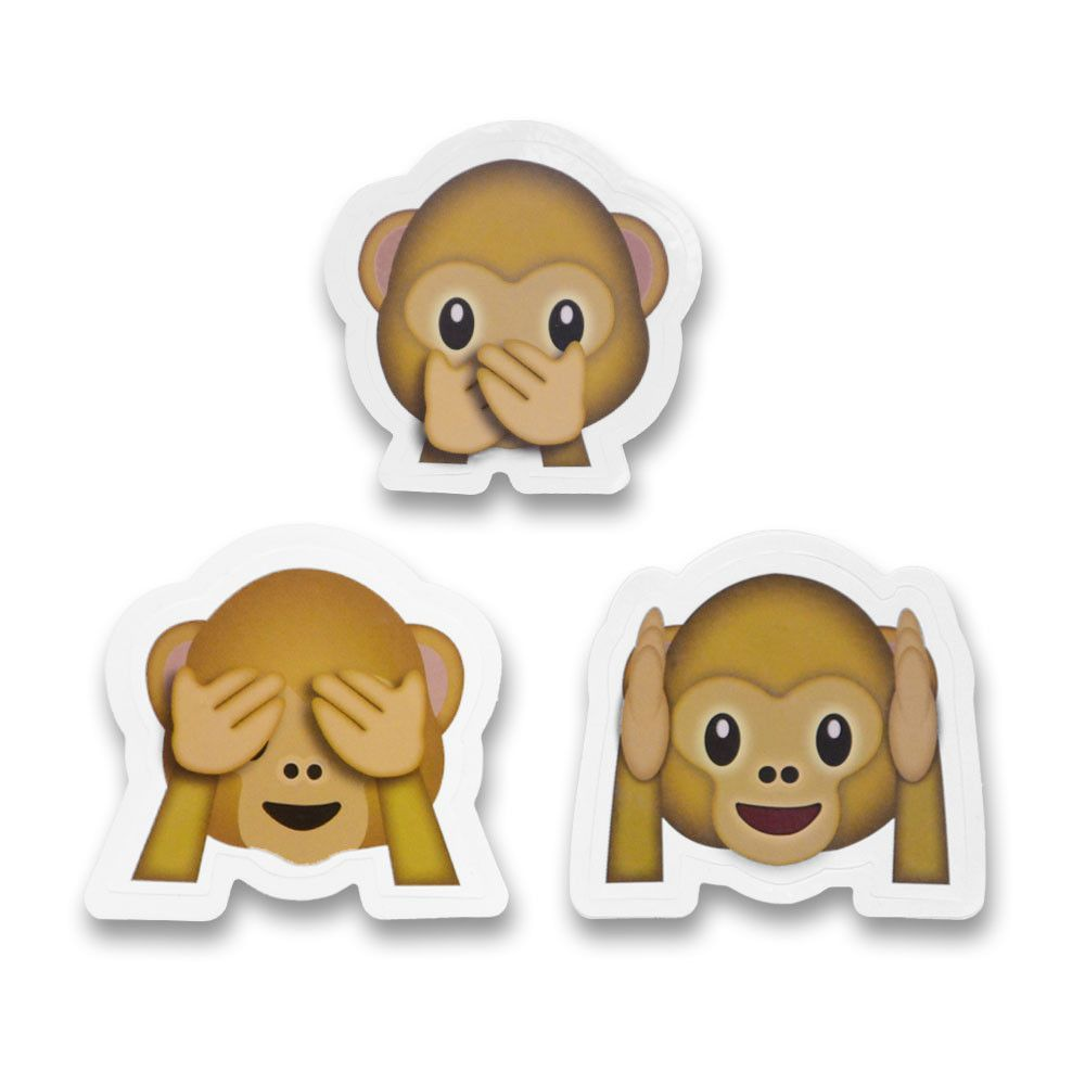 2 Emoji Stickers See No Evil Hear No Evil Speak No Evil Three Wise Monkeys Monkey Stickers Three Wise Monkeys Wise Monkeys