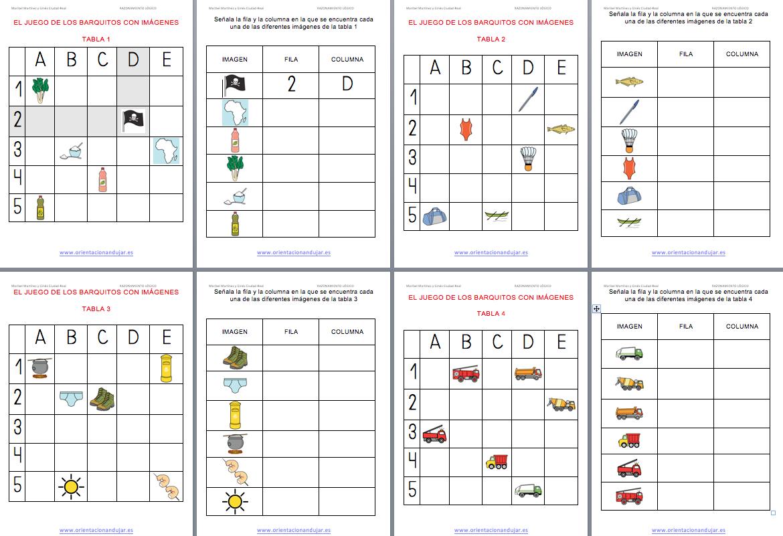 Razonamiento Logico Atención El Juego De Los Barquitos En Imagenes Con Plantilla Editable Geografía Para Niños El Plano Cartesiano Libros De Texturas