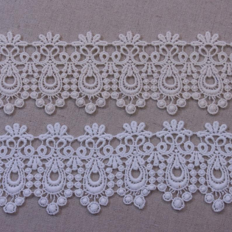 Lovely Embroidered Lace Trim Cotton Crochet DIY Sewing Craft Off White Ivory 4.8cm(1.9) Wide 1Yd #2336