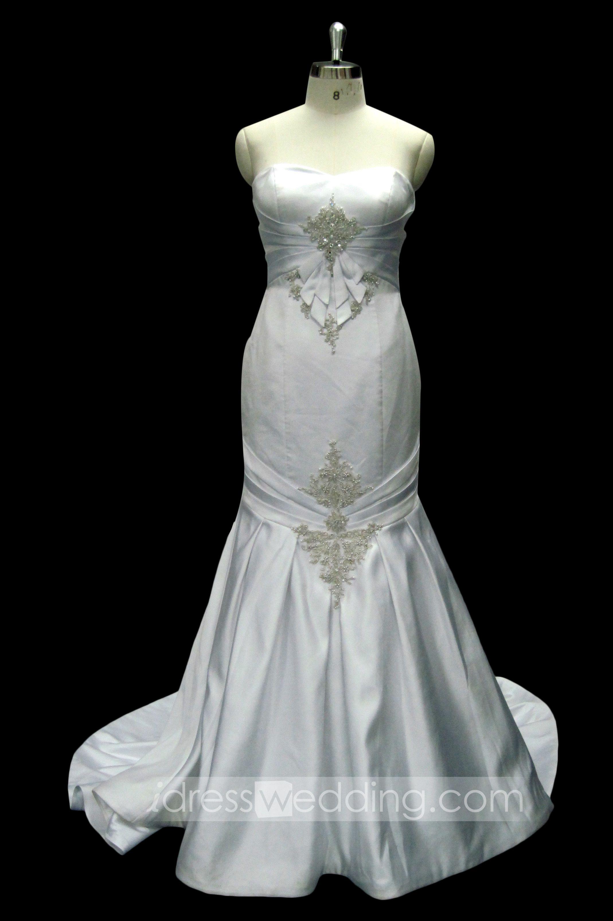Elegant satin mermaid wedding dress mermaid sweetheart neckline