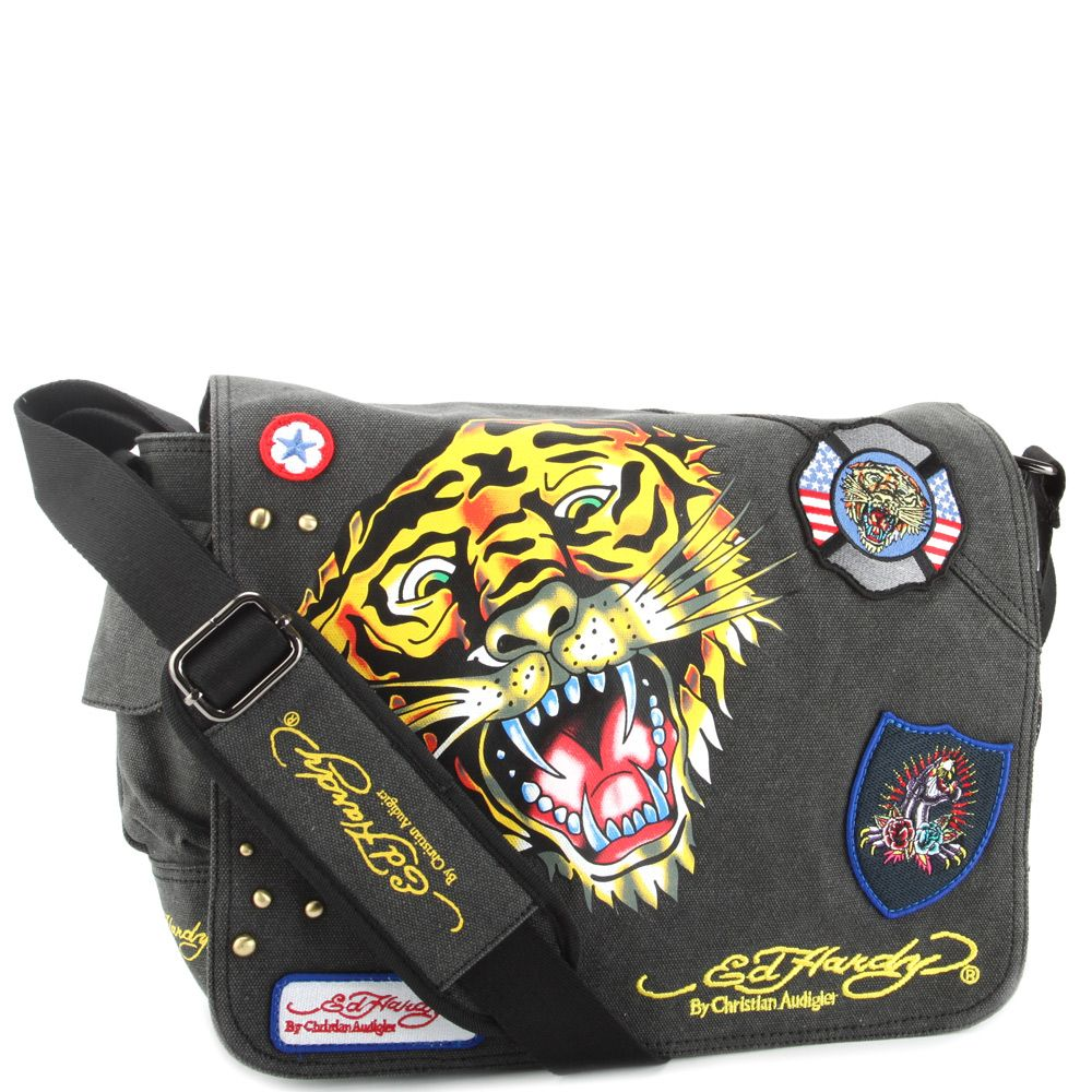 Ed Hardy Lee Tiger Messenger Bag – Black on sale USD59.99 from Fashion58.  The Ed Hardy Lee Tiger Messenger Bag is perfect for Back to School or that  Trendy ... 0f798e8745