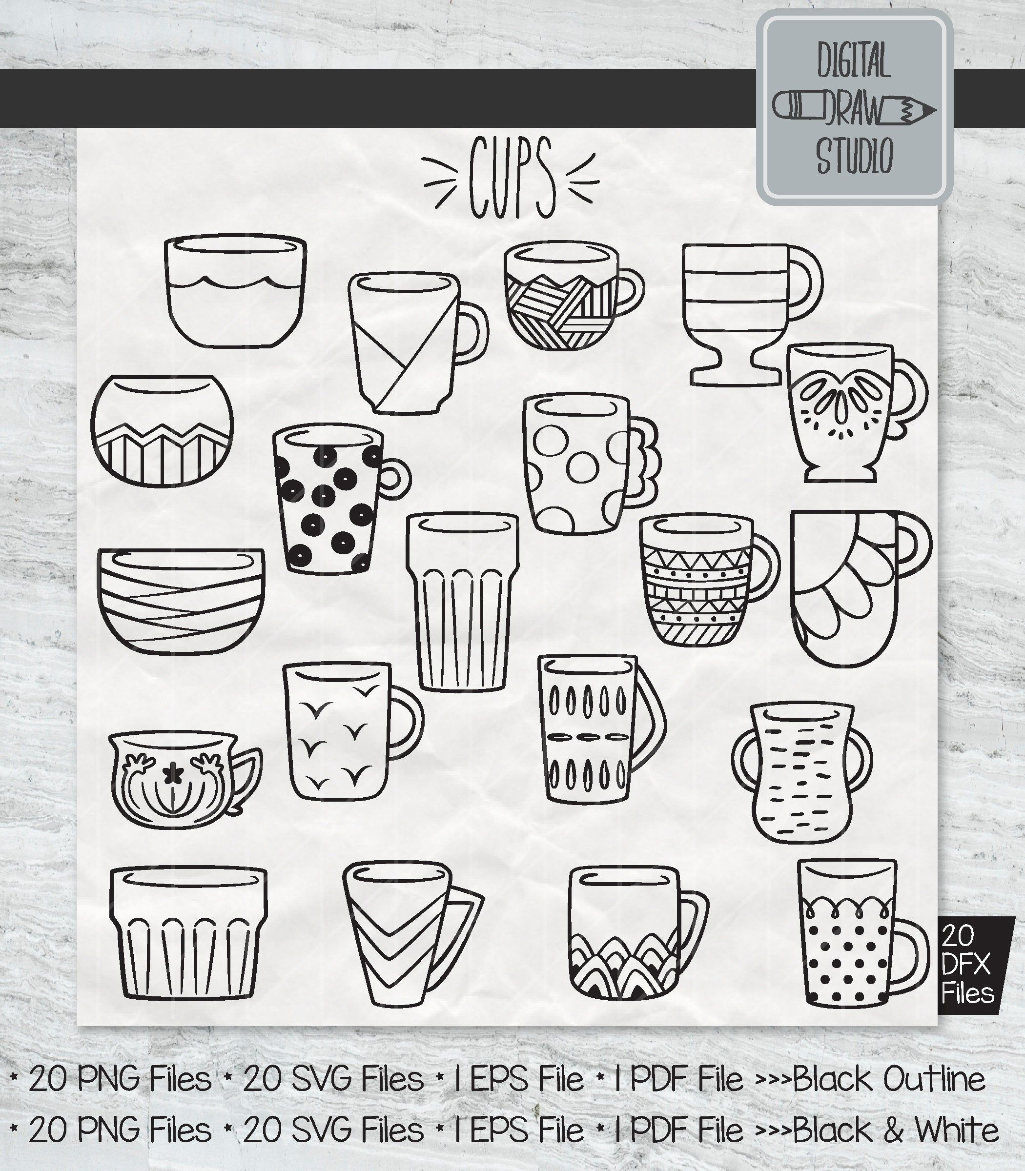 20 Cup Clip art Decorated Tea Cups Vector Graphics