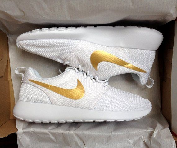 premium selection d193c 95b0a Nike Roshe White with Custom Gold Swoosh Paint in 2019 | Products ...