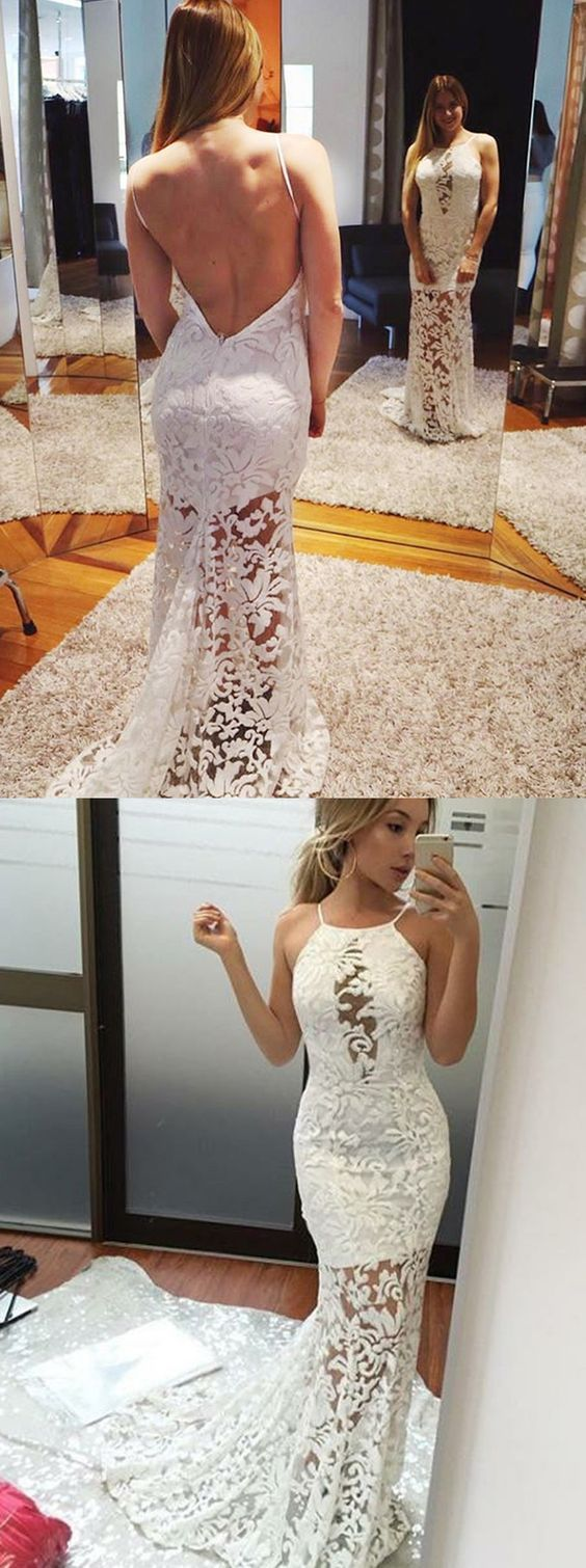Mermaid halter backless sweep train white lace prom dress m