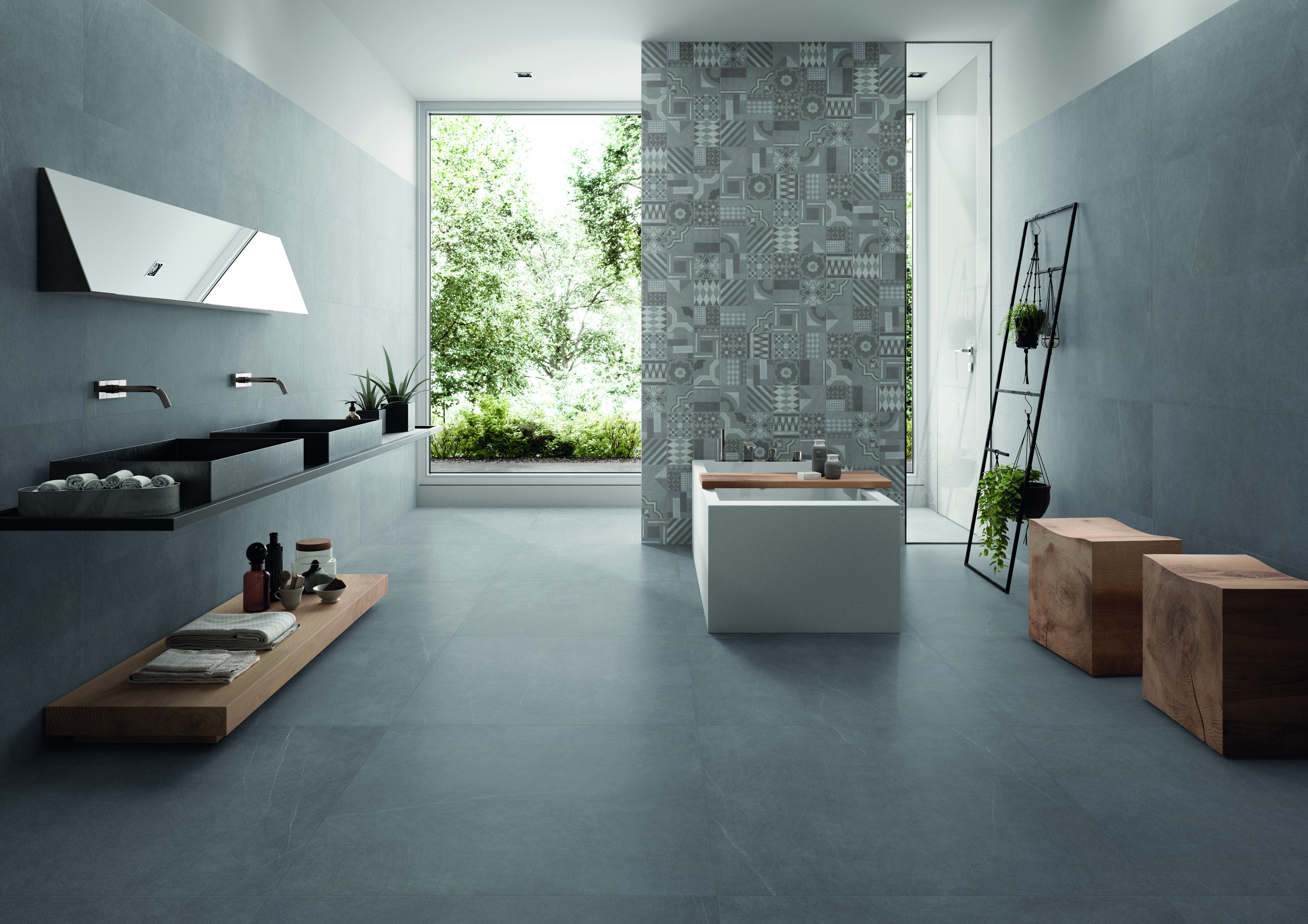 Badezimmer in steinoptik moderne fliesen - Fliesen steinoptik bad ...