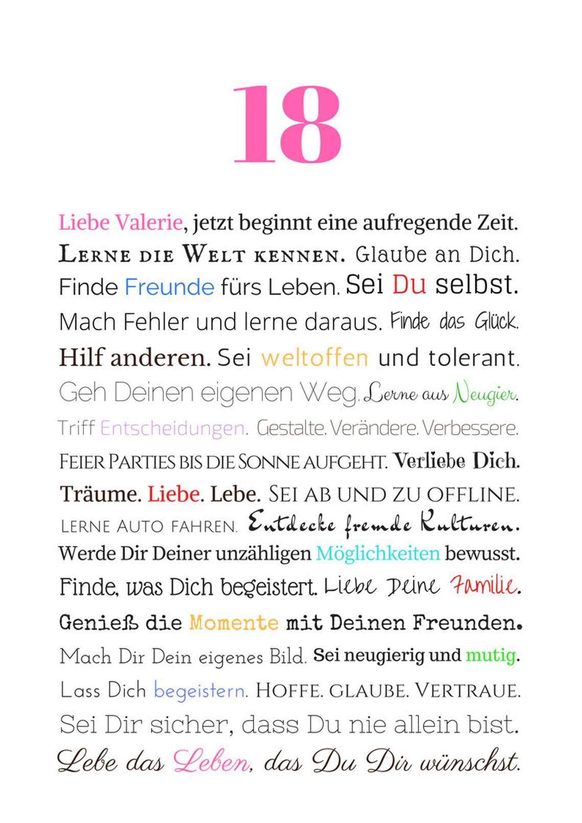 18th Birthday Girl Gift Daughter Birthday Gift Personalized Geschenke Zum 18 Geschenke Zum Geburtstag Gedichte Zum 90 Geburtstag