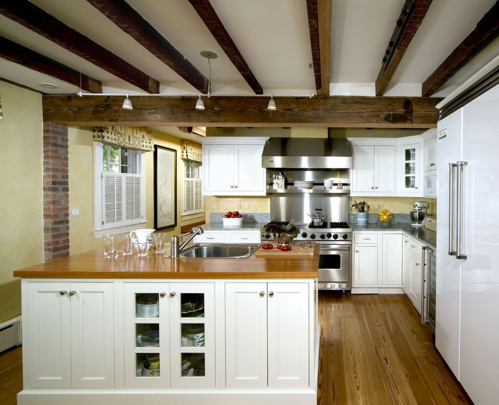 Exposed Beam Vaulted Ceiling Kitchen Traditional With Grey