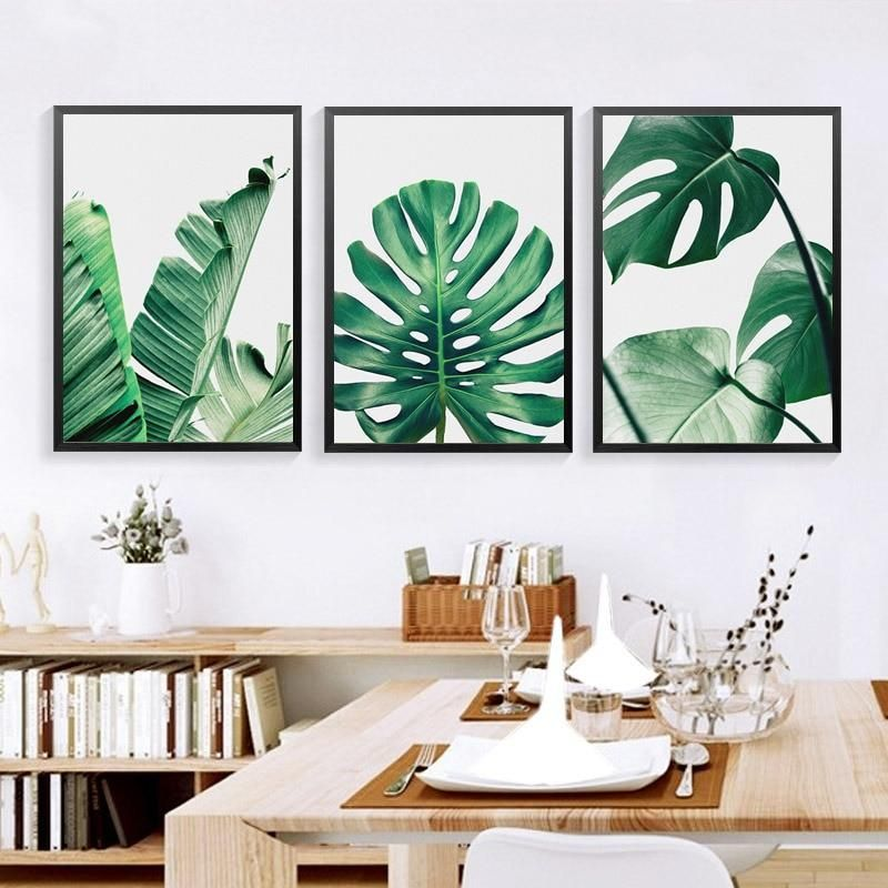 Tropical Plants Poster Green Leaves Decorative Wall Art Painting For Living Room
