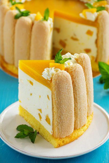"""""""Шарлотта"""" с манго.   Food   Манговый торт, Торт мусс и ..."""