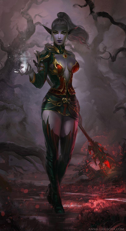 Image result for D&D dark elven female mage