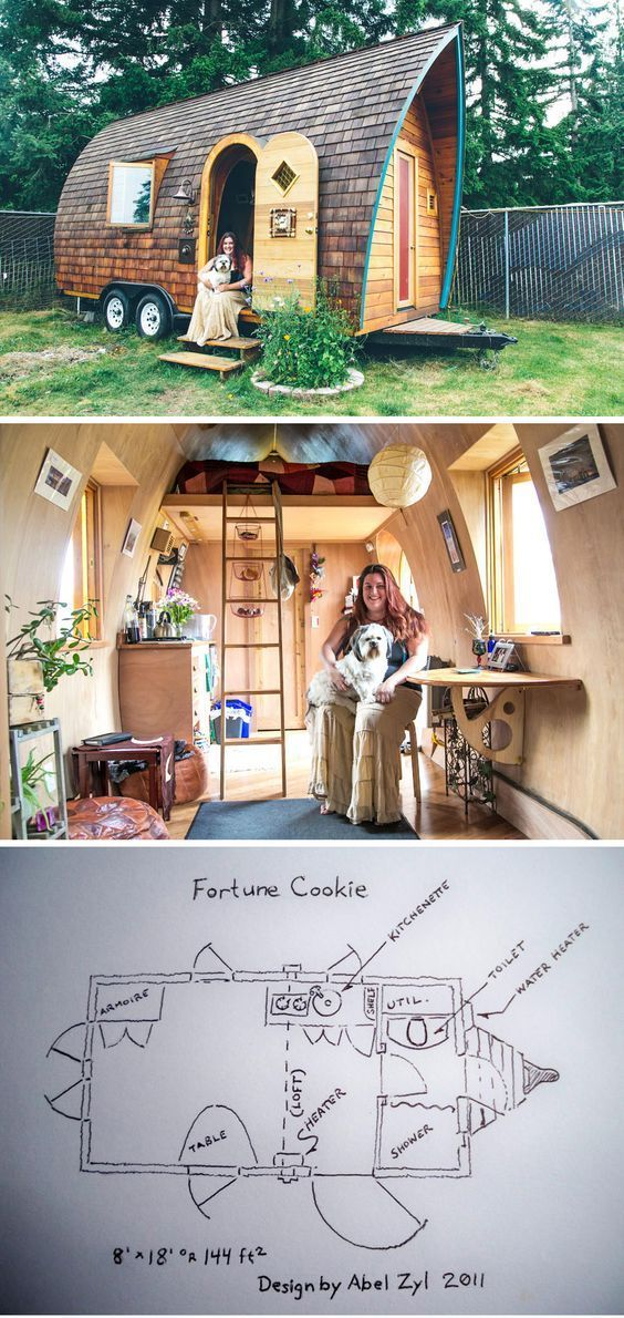 """Kera in her """"Fortune Cookie"""" tiny house built by Abel from Zyl Vardos. Photo by Scott Haydon.: #gypsysetup Kera in her """"Fortune Cookie"""" tiny house built by Abel from Zyl Vardos. Photo by Scott Haydon.:"""