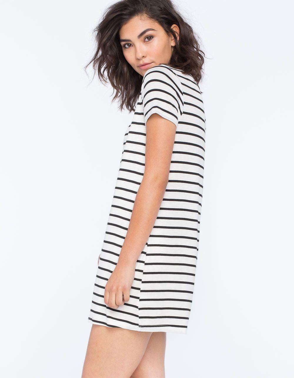 SOCIALITE Stripe Womens TShirt Dress Short Dresses