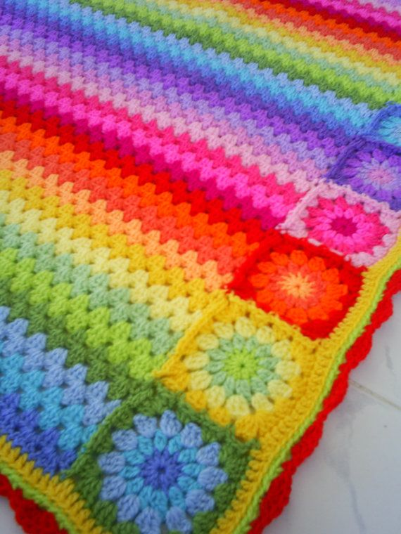 rainbow crocheted blanket | Keep Calm and Crochet On | Pinterest ...