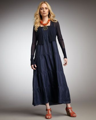 c756d67b111 Cropped Crepe Cardigan   Tiered Silk Maxi Dress by Eileen Fisher at Neiman  Marcus.