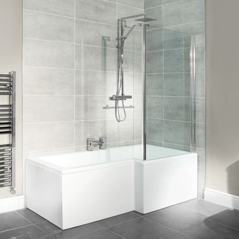 L Shaped 1675 Right Hand Shower Bath, Front Panel and 6mm Hinged ...